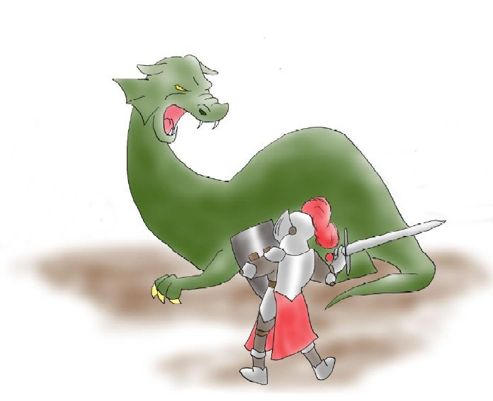 Boy fighting dragon (blank)